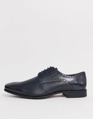 Silver Street leather punched derby lace up shoe in navy