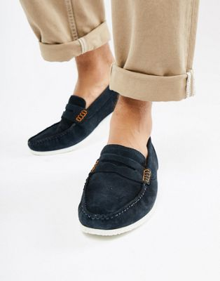 Silver Street Loafers In Navy Suede