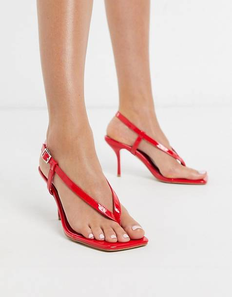 Simmi London – Estelle – Absatzsandalen mit Zehensteg in Rot