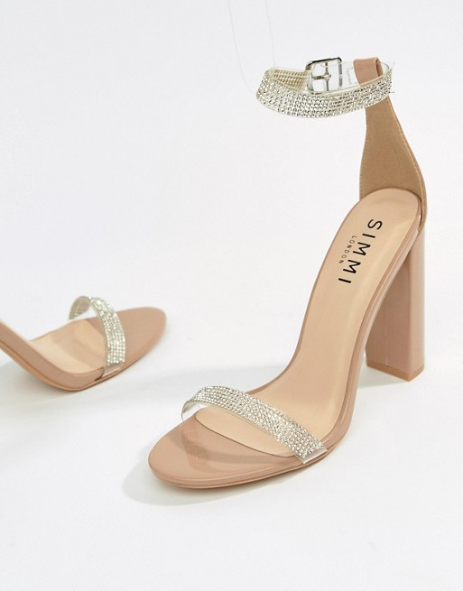 3dbc3f23b Simmi London nude diamante clear detail block heeled sandals
