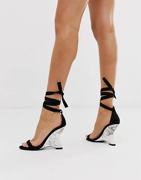Simmi London Tina black marble wedge heeled sandals