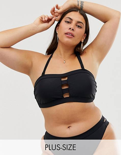 Simply Be bandeau bikini top with removeable halterneck in black