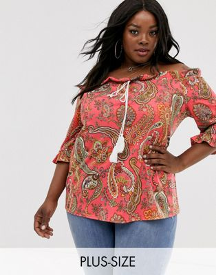 Simply Be bardot top in red paisley