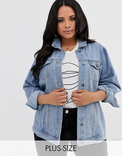 Simply Be oversized denim jacket in blue