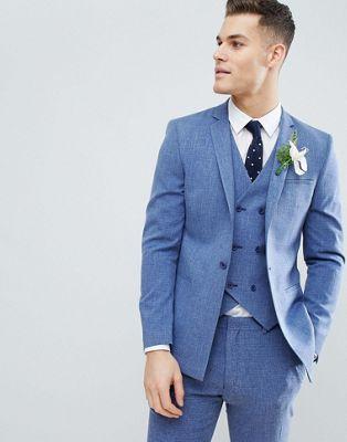 Синий приталенный пиджак с принтом на подкладке ASOS DESIGN Wedding