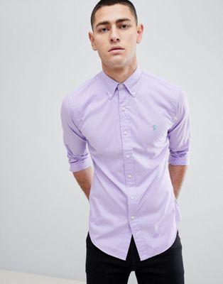 Сиреневая приталенная футболка с логотипом Polo Ralph Lauren