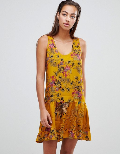 Image 1 of Sisley floral smock mini dress