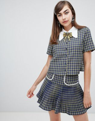 Sister Jane button up shirt with embellished ribbon tie in check co-ord