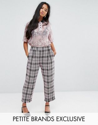 Sister Jane Petite - Pantalon court en tweed à carreaux