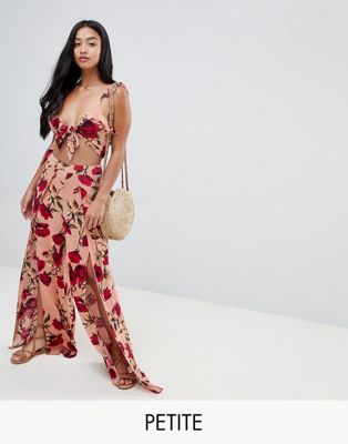 Image 1 of Sisters Of The Tribe Petite split leg pants in romantic rose print two-piece