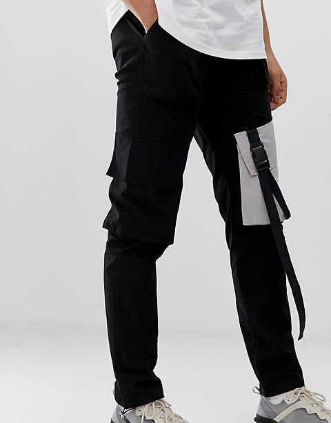 Sixth June cargo pants in black with contrast pockets