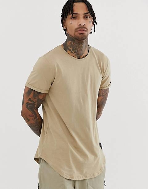 Sixth June curved hem t-shirt in stone