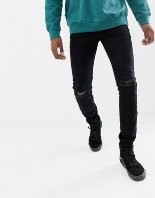 Sixth June – Enge Jeans in Schwarz mit Knierissen