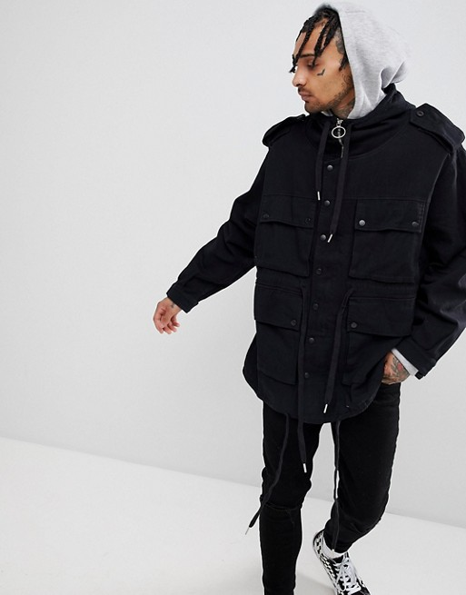 Image 1 of Sixth June hooded utility jacket in black