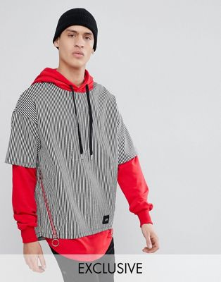 Sixth June Hoodie With Shirt Overlay Exclusive To ASOS