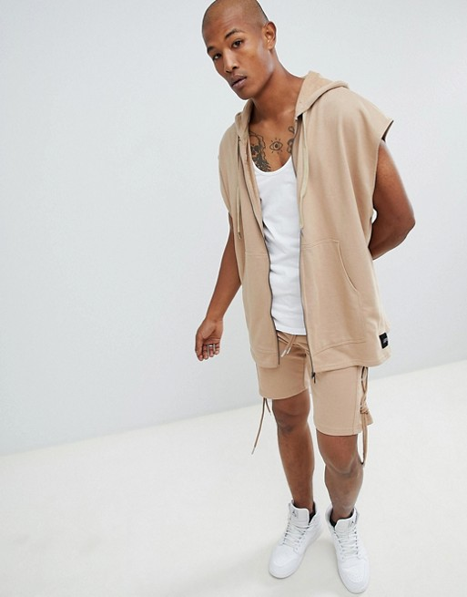 Afbeelding 1 van Sixth June - Oversized mouwloze hoodie met rits