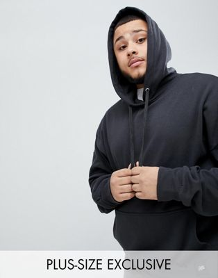 Sixth June PLUS Hoodie With Dropped Shoulder In Black