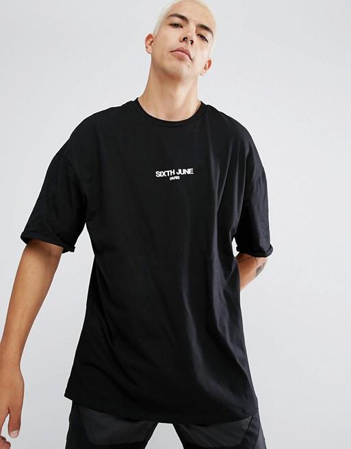 Sixth June – Schwarzes Oversize-T-Shirt mit kleinem Logo