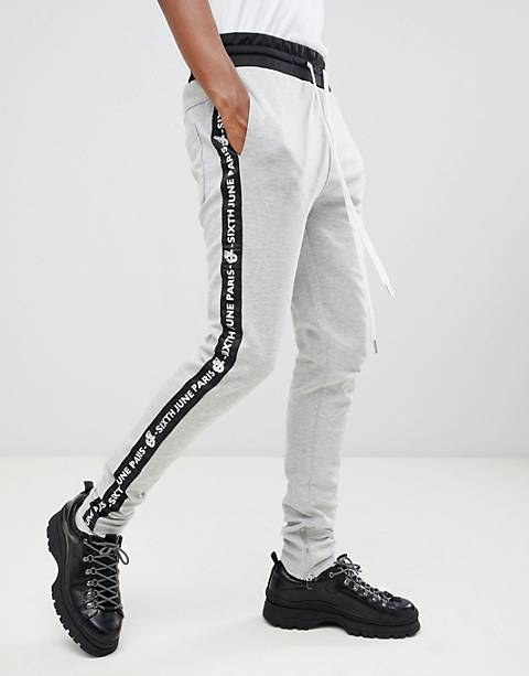 Sixth June skinny sweatpants with logo side stripe