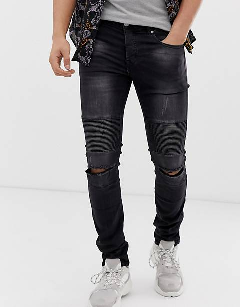 Sixth June super skinny jeans in black with biker detail