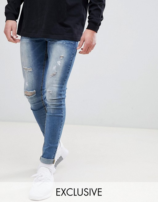 Sixth June super skinny jeans in mid wash with distressing exclusive to ASOS