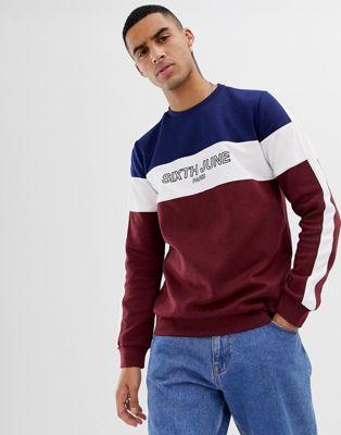 Bild 1 von Sixth June – Sweatshirt in Marineblau mit Cut-and-Sew-Logoeinsatz