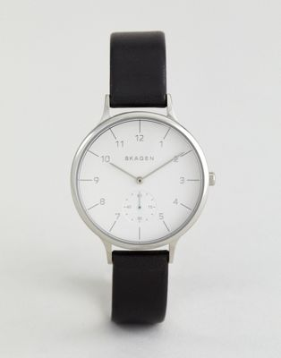 Skagen Anita Black Leather Watch SKW2415