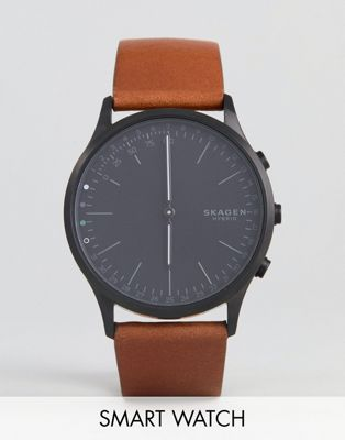 Skagen Connected SKT1202 Jorn Leather Hybrid Smart Watch In Tan