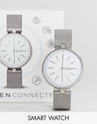 Skagen Connected SKT1400 Signatur Mesh Hybrid Smart Watch In Silver