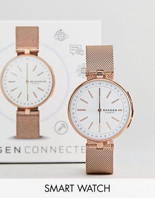 Skagen Connected SKT1404 Signatur Mesh Hybrid Smart Watch In Rose Gold