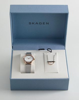 Skagen SKW1101 Freja Mesh Watch & Necklace Gift Set In Rose Gold/Silver