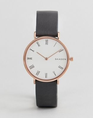 Skagen SKW2674 Slim Hald Leather Watch In Grey