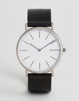 Skagen SKW6419 Signatur Slim Leather Watch In Black