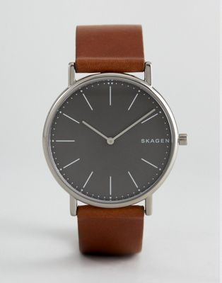Skagen SKW6429 Signatur Slim Leather Watch In Tan
