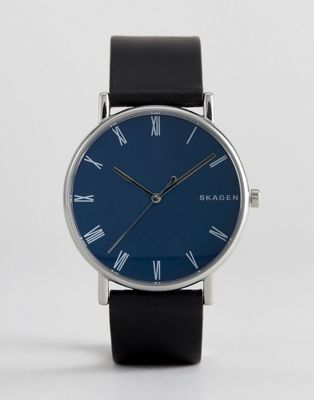 Skagen SKW6434 Signatur Slim Leather Watch In Black