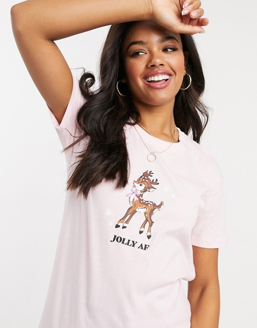 Skinny Dip oversized christmas t-shirt in pink