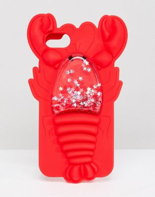 Skinnydip Red Lobster Squeezy Glitter Silicon iPhone Case 6/7/8/s