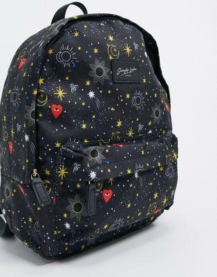 Skinnydip– Schwarzer Backpack aus recycelten Materialien mit Himmelsprint