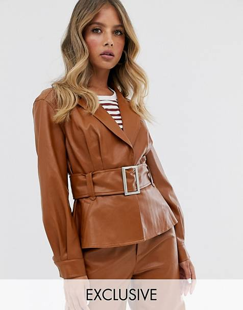 Skylar Rose belted blazer jacket in faux leather