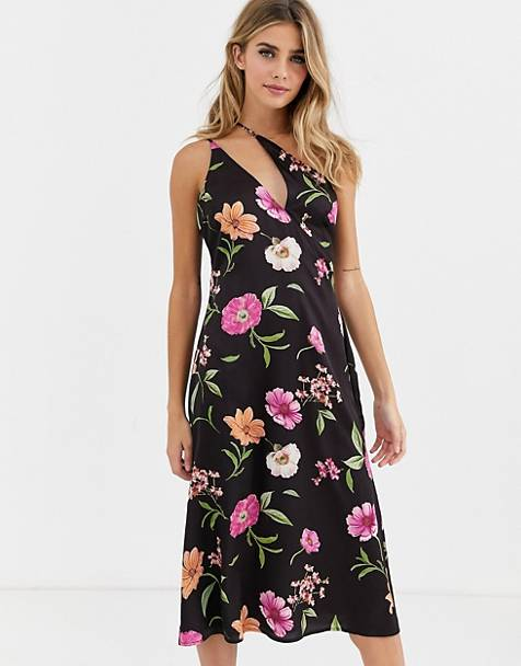 Skylar Rose midi dress with asymmetric cami straps in romantic floral satin