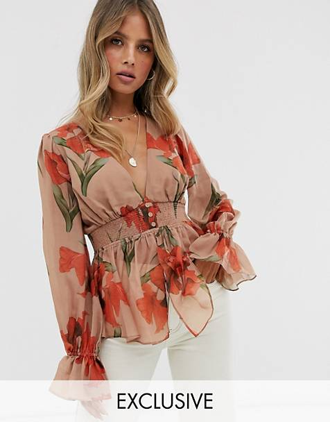 Skylar Rose plunge front blouse with shirring in orchid print