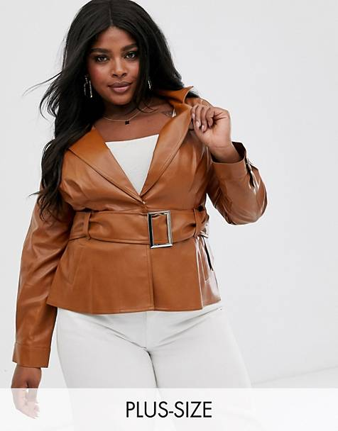 Skylar Rose Plus belted blazer jacket in faux leather