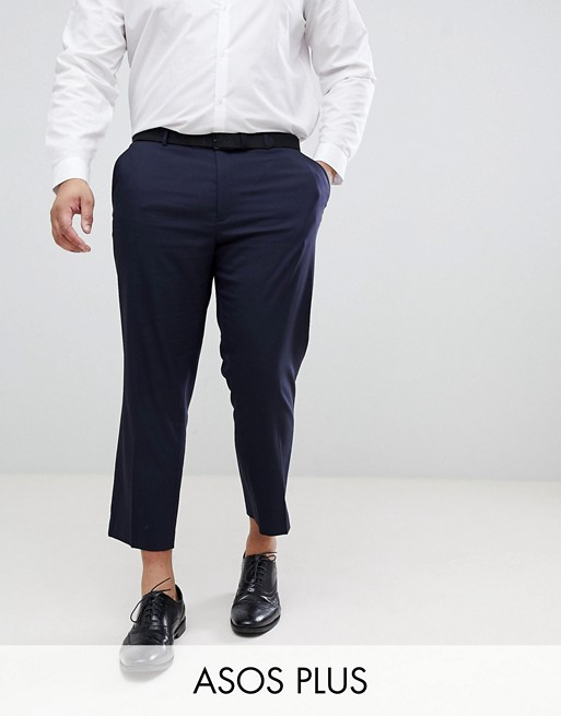 Smalle smarte cropped bukser i navy fra ASOS PLUS