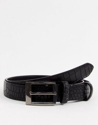 Smith & Canova croc belt in black