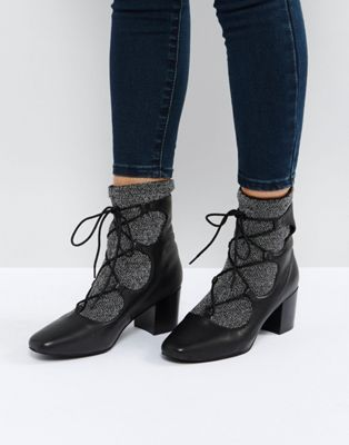 Sol Sana Cupid Black Leather Glitter Ghillie Boots