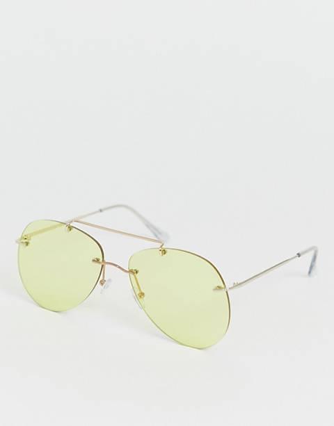 Солнцезащитные очки-авиаторы без оправы с желтыми стеклами ASOS DESIGN