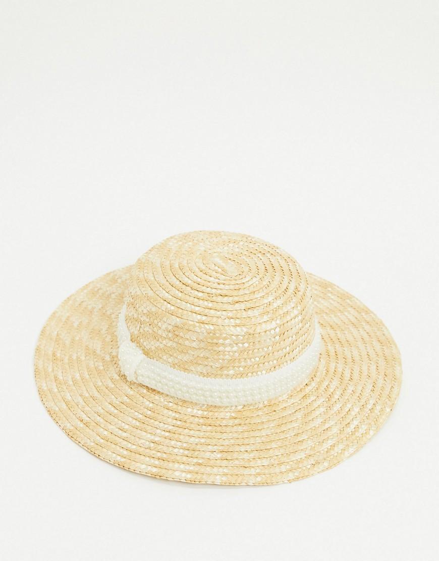 Соломенная шляпа канотье с искусственным жемчугом на ленте ASOS DESIGN-Бежевый