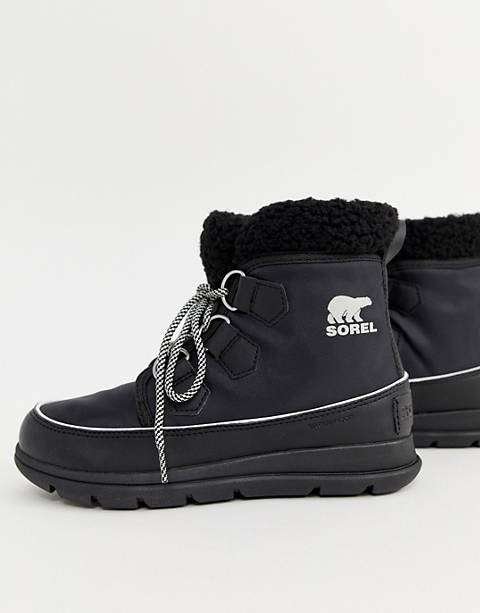 Sorel Explorer Carnival Waterproof Black Nylon Boots With Microfleece Lining