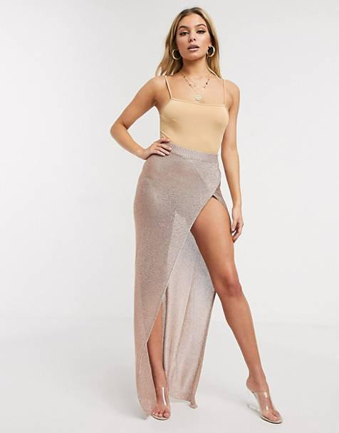 Sorelle knitted shimmer wrap maxi skirt with high thigh split in rose gold