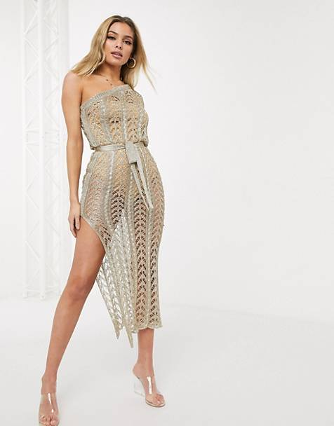 Sorelle one shoulder knitted shimmer midaxi dress in gold
